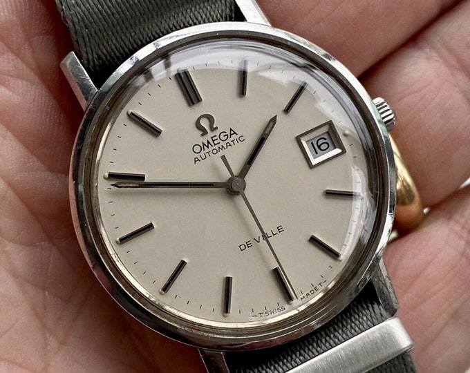 Omega Automatic De Ville Stainless Steel Mens Vintage Steel Grey Nato 1973 watch