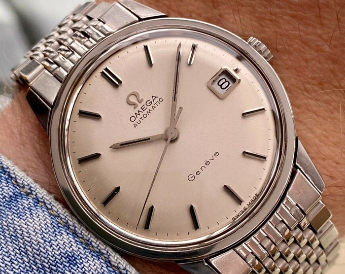 Omega Geneve Vintage Mens Automatic Beads of Rice Steel Bracelet 34mm watch