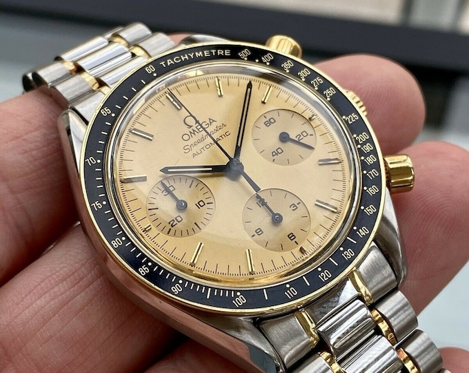 Omega Speedmaster Reduced Men's 18K Gold & Steel Two Tone Automatic 1140 1990s Serviced March 2021 watch + Box