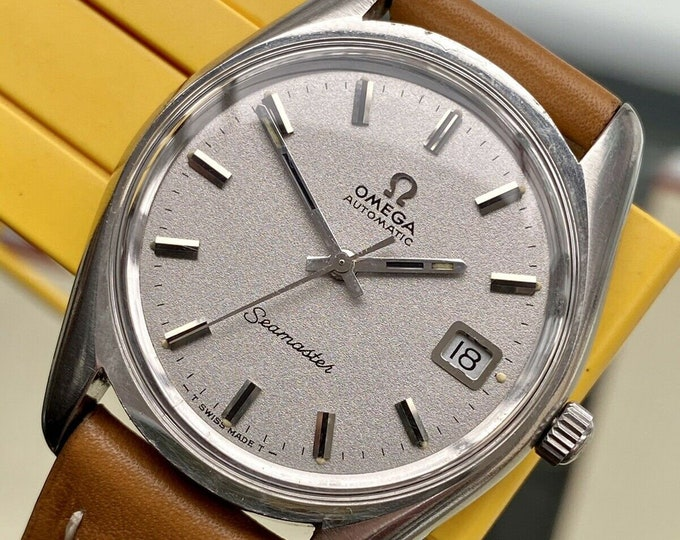 Omega Seamaster Beefy Lug 1969 Steel Leather Mens Vintage Automatic Swiss watch + Box