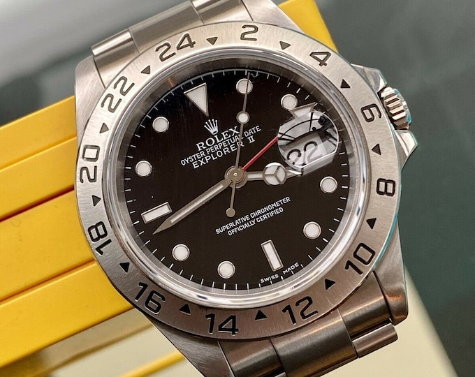 Rolex Oyster Perpetual EXPLORER II 2 16570 GMT Red Black Dial used swiss serviced October 2020 watch