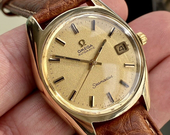 Omega Seamaster Beefy Lugs Gold Steel Mens Vintage Automatic 1970 36mm serviced revised October 2020 watch + New Box