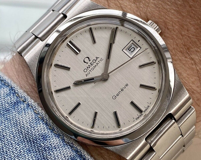 Omega 1973 vintage Geneve Steel Silver Dial Mens used Automatic serviced watch + Box