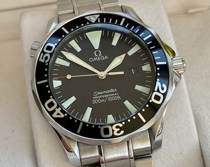 Omega Seamaster 1998 300m 41mm Black Dial Battery Quartz mens 2264.50 divers watch Box