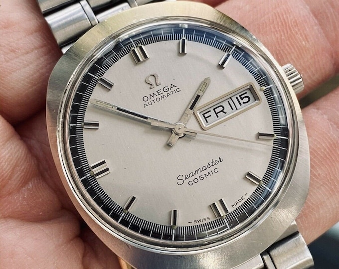 Omega Seamaster Cosmic Steel Mens Vintage Automatic Day Date used 1960s Grey Dial Face watch