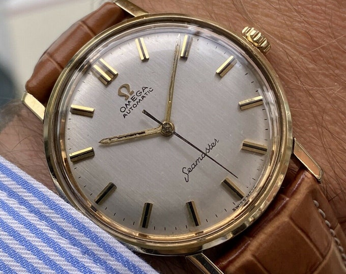 Omega Seamaster Gold Capped Vintage 1960s mens automatic self winding watch + Box