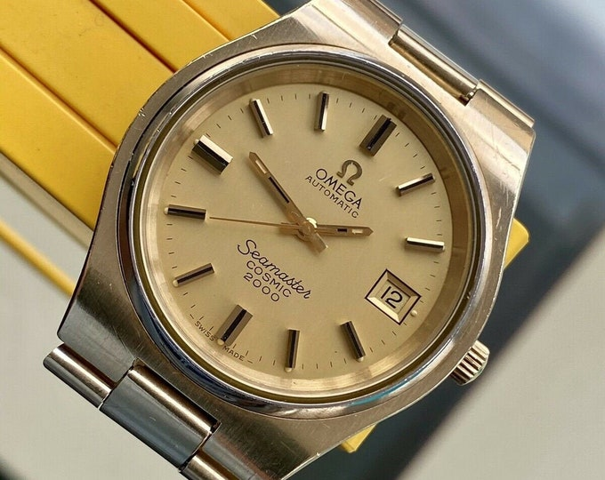 Omega Seamaster Cosmic 2000 Mens Vintage Jumbo 38mm Automatic Gold Bracelet 1973 watch