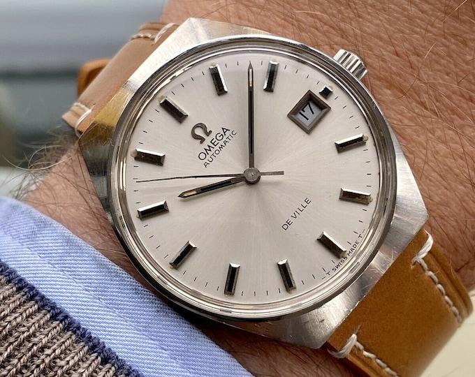 Omega Automatic De Ville Steel Mens Vintage Steel Tan leather 1970s watch + New Box