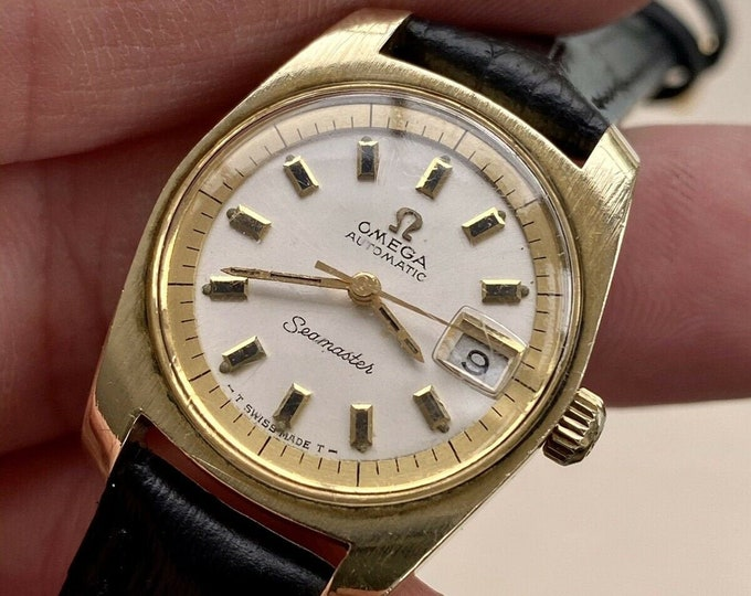 Omega Seamaster Automatic Lady Women Vintage Stainless Gold on Steel used watch