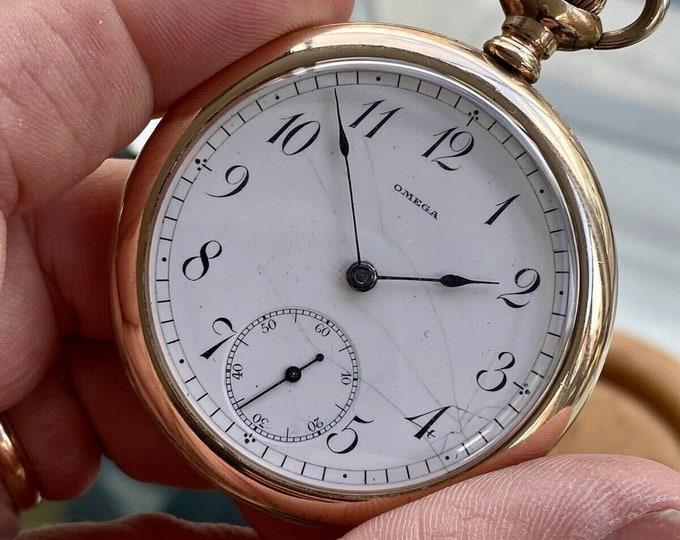Omega Vintage Antique Rose Pink Gold Filled Pocket Men's 1950 Swiss hand winding watch Serviced October 2021