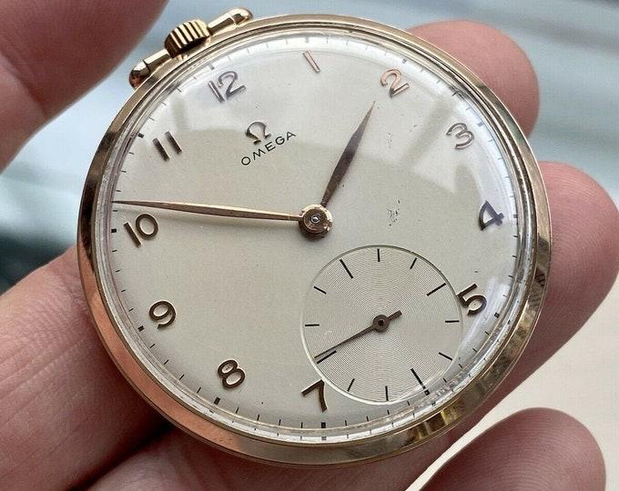 Omega Vintage Antique Rose Pink Gold Filled Pocket Men's 1950 Swiss hand winding watch Serviced March 2021