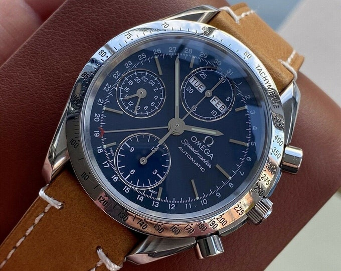 Omega Speedmaster Navy Blue Dial Men's Automatic Triple date Brown Leather Watch + Box