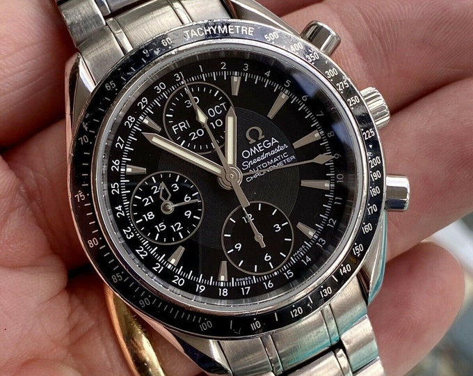 Omega Speedmaster Ref 32205000 Black Dial Men's Automatic Triple date watch Full Set papers cards tag + Box