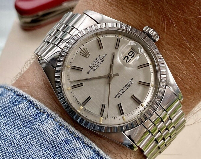 Rolex Stainless Steel Jubilee Automatic Perpetual vintage Mens 1603 Watch + Box