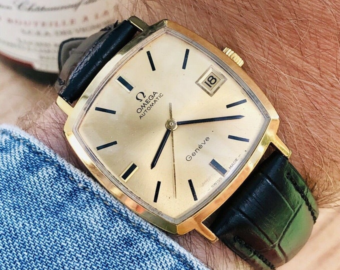 Omega Mens 1973 vintage Geneve used Square Dial Automatic Gold Date watch + Box