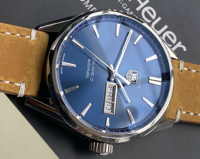TAG Heuer Carrera Caliber 5 Steel Automatic Blue Dial Day Date Men's 40mm Watch serviced May 2021 Watch Papers Card Box
