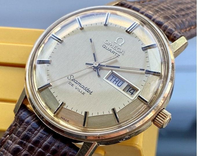 Omega Rectangular Quartz Battery Seamaster Gold Plated Vintage Men's 1970s serviced March 2021 watch