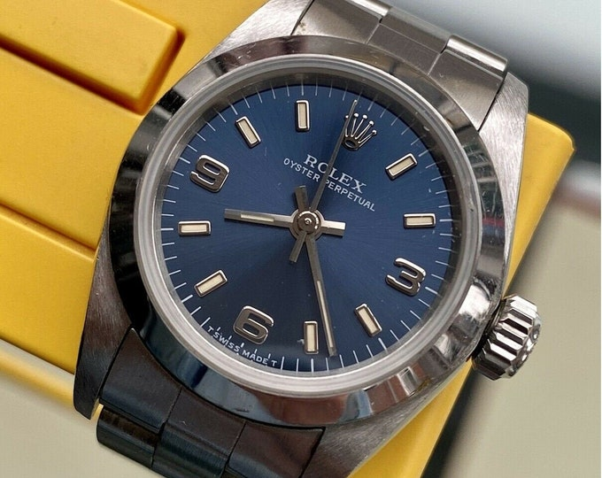 Rolex Oyster Perpetual 67180 Women's 26mm Steel Automatic Blue 1995 Watch Papers Box