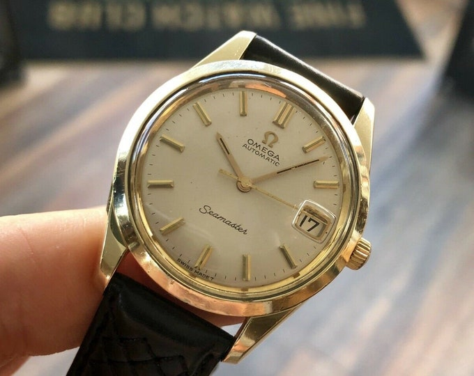Omega Mens Seamaster Automatic Gold Capped Vintage 1966 Mens 34mm Unisex watch used second hand + Box