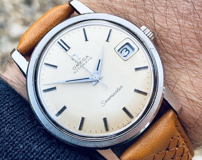 Omega Mens Seamaster 1960s Stainless second hand vintage Watch CAL 565 Automatic 1960s luxury new leather band strap + Box