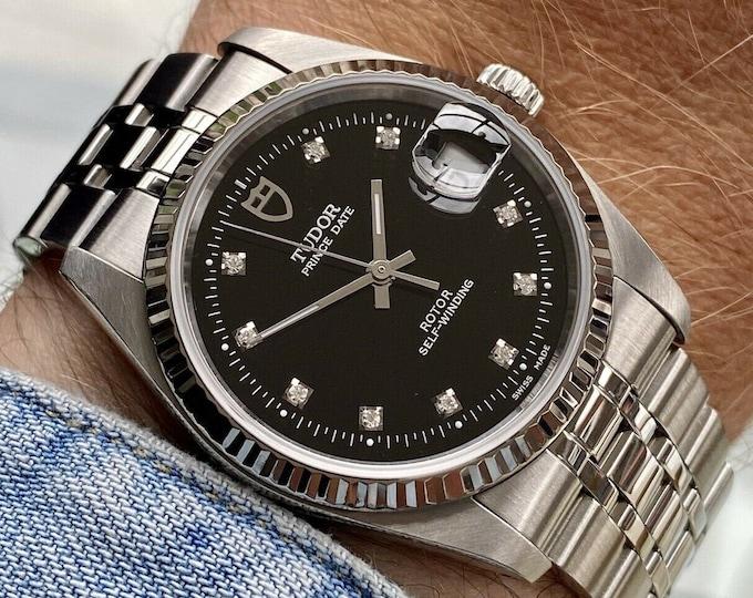 Tudor Steel 74034 Prince Date Diamond Black Dial Men Unisex 34mm midsize Automatic watch Papers Box
