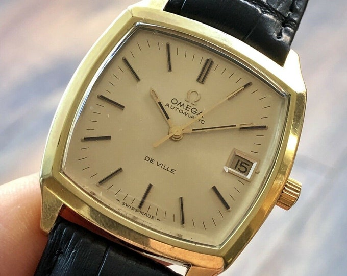 Omega Mens 1960 - 1969 vintage De Ville Square Dial Automatic Gold Date watch + Box