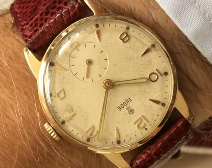 Tudor Rolex Sub Seconds Mechanical 1260 Solid 9K Gold vintage 1950s mens watch