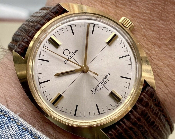 Omega Mens Seamaster Cosmic Gold Mechanical 601 Vintage 1966 Brown Leather watch