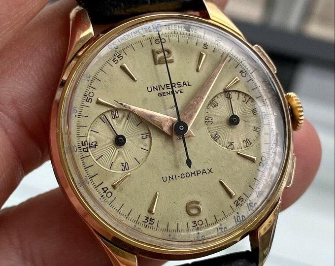 Universal Geneve Uni Compax Rose Gold Mens Lemania 285 Chronograph vintage 35mm watch