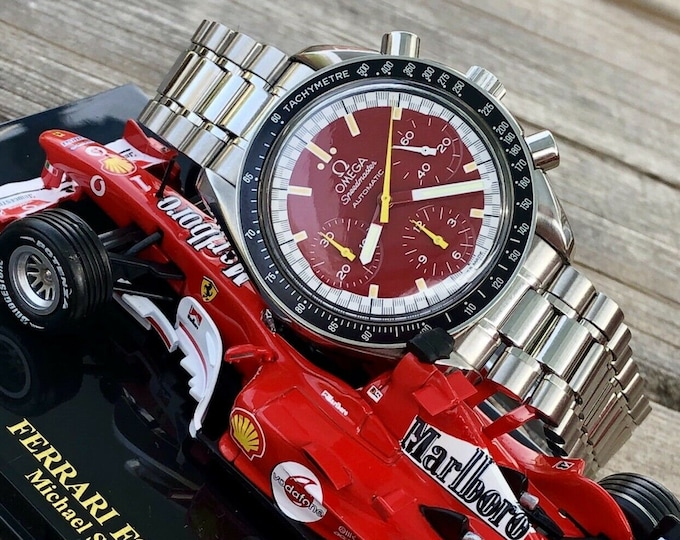 Omega Speedmaster Red Dial Men's chronograph reduced Automatic Michael Schumacher F1 Special edition 1996 3510.61.00 watch + Box
