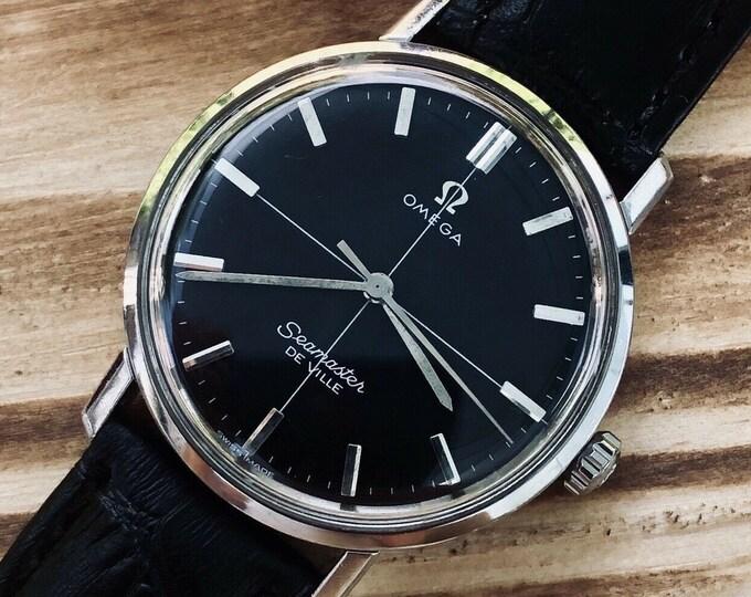 Omega Mens Seamaster De Ville Crosshair Black Dial 1960s Mens Mechanical watch + Green Omega Box