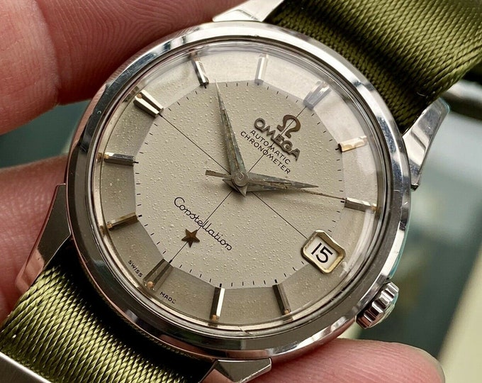 Omega Constellation Automatic Pie Pan vintage Nato Rice Bracelet mens 1959 watch + Box