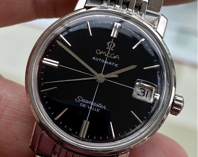 Omega Seamaster De Ville Automatic Self Winding Caliber 565 Black Dial Mens Mad Men Steel Bracelet 1967 watch