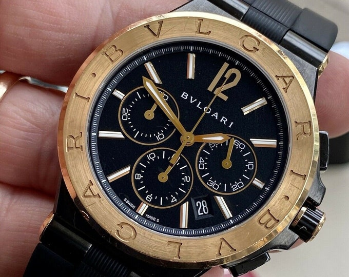 BVLGARI Bulgari Diagono DG 42 18K Rose Pink Gold Black Dial Ceramic Mens 42mm Chronograph Automatic Watch