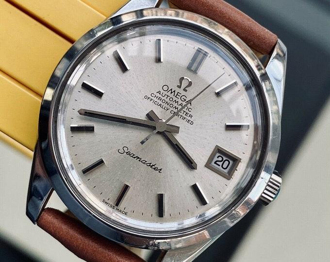 Omega Seamaster Leather + Steel Bracelet Mens Vintage 1971 Automatic Caliber 1011 serviced October 2020 watch