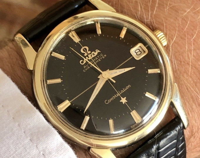 Omega Constellation Pie Pan Automatic Date vintage mens 1961 gold watch + New Box + Service card May 2020