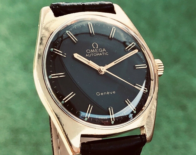 Omega Mens 1963 vintage Geneve Black Dial Automatic cal 552 Gold plated watch + Box