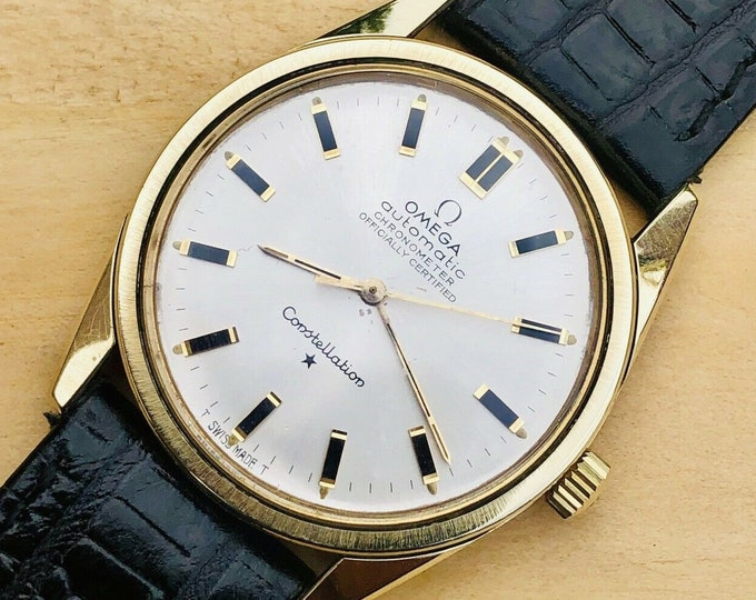 Omega vintage Gold Capped Calibre 711 Constellation 1960s Automatic second hand watch + box