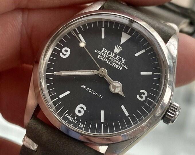 Rolex Explorer 5500 Oyster Perpetual Black Dial  Men's 1975 Vintage serviced October 2021 watch + Box