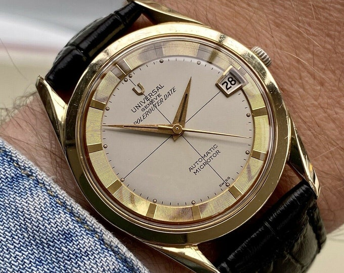 Universal Geneve Polerouter Gold Plated Microtor Automatic 215-2 vintage mens serviced March 2021