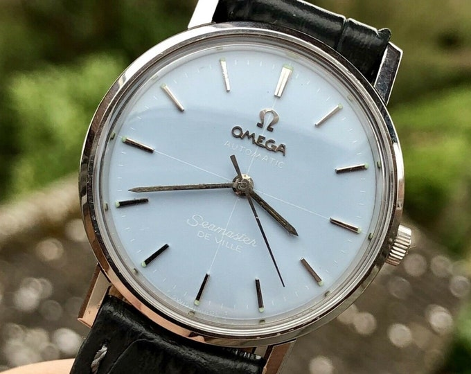 Omega Mens Seamaster 1960s Stainless Steel bracelet second hand vintage 33mm unisex Watch CAL 565 Automatic 1960s rare crosshair dial + Box