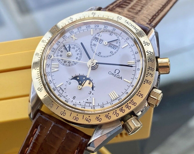 Omega Speedmaster Men's 18K Gold & Steel Moon Phase Automatic 1991 watch full set box papers card servcied May 2021