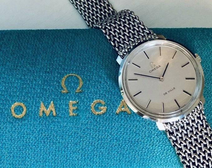 OMEGA Vintage 1960 - 1969 Mens  De Ville Steel Mechanical Gents Watch Wristwatch with original Milanese bracelet band  + Box