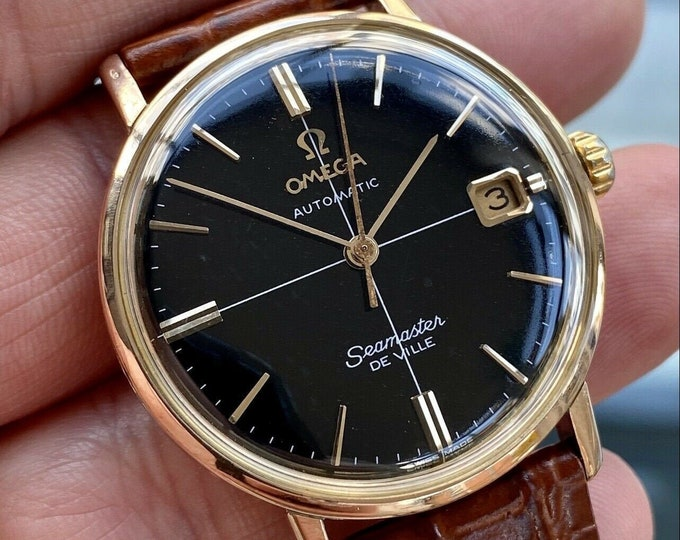 Omega Seamaster De Ville Black Dial Rose Gold Automatic 565 vintage watch serviced March 2021 + Box