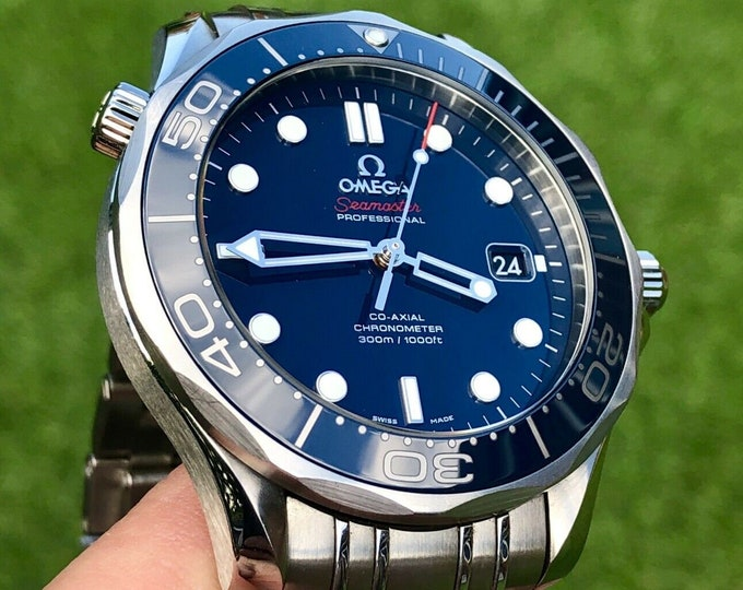 Omega Seamaster Professional Automatic 300m Full Size 41mm Blue Dial 007 2015 Divers watch Co-Axial Ceramic Rubber strap Full Set James Bond