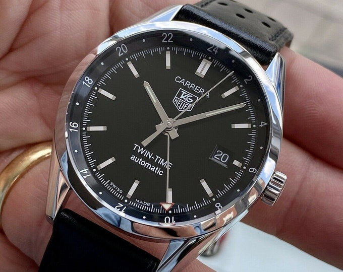 TAG Heuer Carrera Twin Time GMT Caliber 7 Steel Automatic Black Dial Men's Watch
