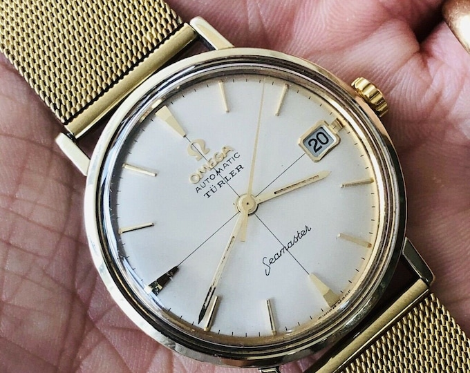 OMEGA TULRER Automatic gold filled Seamaster De Ville Mens vintage watch crosshair Dial + New Box
