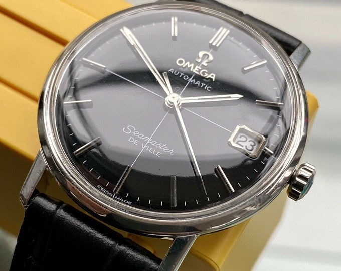 Omega Seamaster De Ville Automatic Date Display Crosshair Black Dial Mens Mad Men Don Draper caliber 565 Serviced November 2020 1967 watch