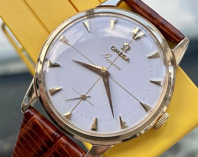 Omega 1958 Geneve Mens Vintage Sub Seconds Solid Gold Serviced April 2021 watch