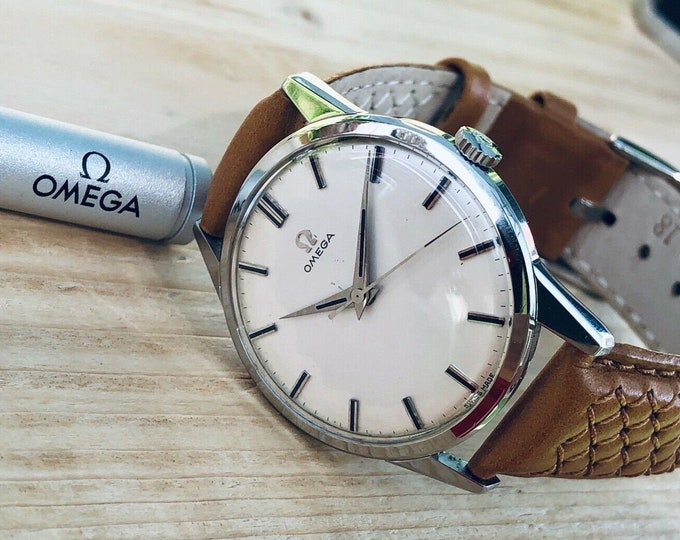 Omega Classic vintage Steel Ryan Gosling 1959 Mechanical Calibre 285 White Dial second hand gents watch + box